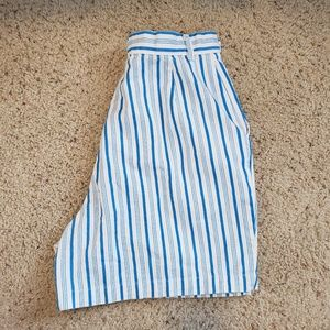 Vintage bright blue and white striped shorts